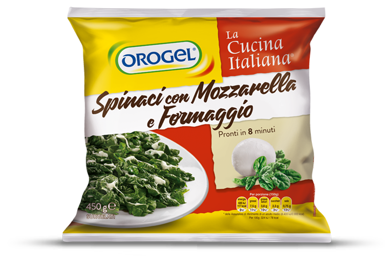 Spinach with mozzarella and cheese