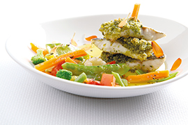 "Sea bass with green pepper with ""verdure leggerezza""and aromatic herbs"